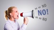 Geschftsfrau schreit Nein
